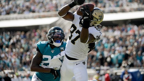 <p>               New Orleans Saints tight end Jared Cook (87) catches a pass for a 4-yard touchdown in front of Jacksonville Jaguars defensive back Jarrod Wilson, left, during the second half of an NFL football game, Sunday, Oct. 13, 2019, in Jacksonville, Fla. (AP Photo/Phelan M. Ebenhack)             </p>