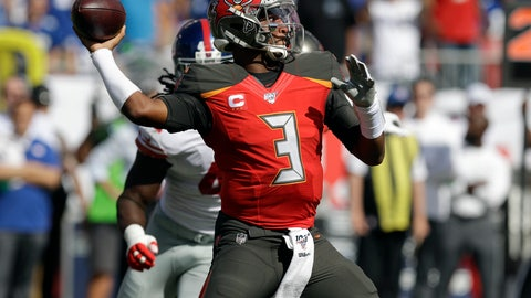 <p>               Tampa Bay Buccaneers quarterback Jameis Winston (3) throws a pass against the New York Giants during the first half of an NFL football game Sunday, Sept. 22, 2019, in Tampa, Fla. (AP Photo/Chris O'Meara)             </p>