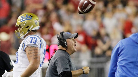 <p>               UCLA head coach Chip Kelly, center, shouts to his players during the first half of an NCAA college football game against Washington State in Pullman, Wash., Saturday, Sept. 21, 2019. (AP Photo/Young Kwak)             </p>