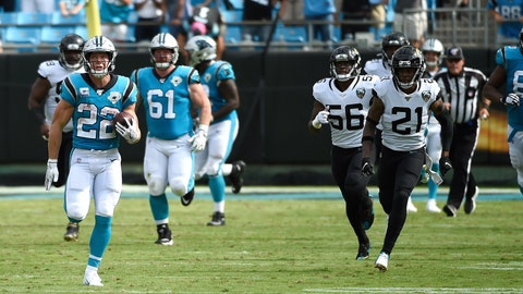 <p>               Carolina Panthers running back Christian McCaffrey (22) runs for a touchdown during the second half of an NFL football game against the Jacksonville Jaguars in Charlotte, N.C., Sunday, Oct. 6, 2019. (AP Photo/Mike McCarn)             </p>