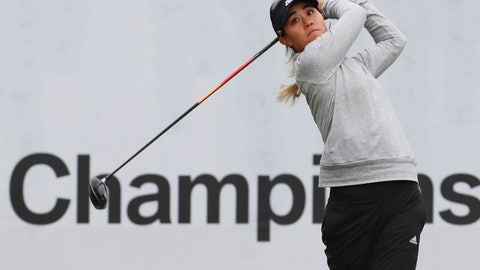 <p>               Danielle Kang of the United States watches her shot on the first hole during the first round of the LPGA tournament at LPGA International Busan in Busan, South Korea, Thursday, Oct. 24, 2019. (Han Jong-chan/Yonhap via AP)             </p>