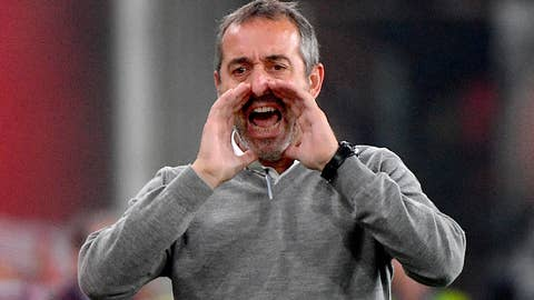 <p>               Milan's coach Marco Giampaolo shouts from the touchline during the Italian Serie A soccer match between Genoa CFC and AC Milan at the Luigi Ferraris stadium in Genoa, Italy, Saturday Oct. 5, 2019. (Luca Zennaro/ANSA via AP)             </p>