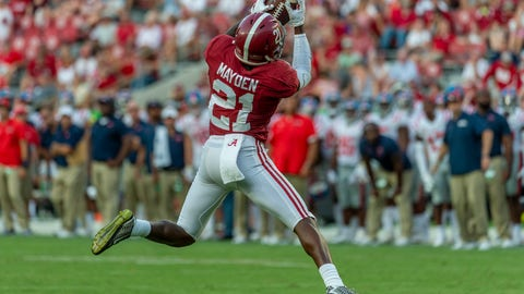 <p>               Alabama defensive back Jared Mayden (21) makes an interception against Mississippi during the second half of an NCAA college football game, Saturday, Sept. 28, 2019, in Tuscaloosa, Ala. (AP Photo/Vasha Hunt)             </p>