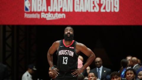 <p>               Houston Rockets' James Harden stands near the team bench during the first half of an NBA preseason basketball game against the Toronto Raptors Tuesday, Oct. 8, 2019, in Saitama, near Tokyo. (AP Photo/Jae C. Hong)             </p>