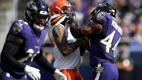 <p>               FILE - In this Sunday, Sept. 29, 2019, file photo, Cleveland Browns wide receiver Odell Beckham, center, and Baltimore Ravens cornerback Marlon Humphrey (44) grab each other during the second half of an NFL football game in Baltimore. Browns coach Freddie Kitchens wants more consistent NFL officiating after wide receiver Odell Beckham Jr. was choked during Sunday's game. Beckham got into a skirmish with Ravens cornerback Marlon Humphrey, who pinned the three-time Pro Bowler and had his hands around his neck before being pulled away. Both players were assessed personal fouls, but neither was ejected. Kitchens said he planned to reach out to the league about that situation in particular and officiating evenness in general. (AP Photo/Nick Wass, File)             </p>