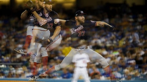 <p>               In this multiple-exposure photo, Washington Nationals starting pitcher Stephen Strasburg throws to a Los Angeles Dodgers batter during the third inning in Game 2 of a baseball National League Division Series on Friday, Oct. 4, 2019, in Los Angeles. (AP Photo/Marcio Jose Sanchez)             </p>