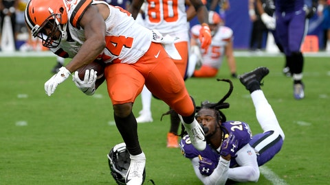 <p>               FILE - In this Sept. 29, 2019, file photo, Cleveland Browns running back Nick Chubb (24) avoids a tackle by Baltimore Ravens cornerback Maurice Canady (26) while running for a touchdown during the second half of an NFL football game in Baltimore. The Browns were pegged (hyped?) to be a budding powerhouse with all of the improvements in talent. Instead, they are perhaps the most inconsistent team in the league. (AP Photo/Nick Wass, File)             </p>