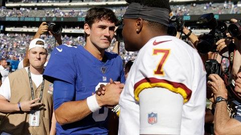 <p>               New York Giants quarterback Daniel Jones, left, greets Washington Redskins quarterback Dwayne Haskins after an NFL football game, Sunday, Sept. 29, 2019, in East Rutherford, N.J. The Giants defeated the Redskins 24-3. (AP Photo/Adam Hunger)             </p>