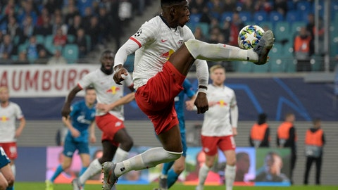 <p>               Leipzig's Nordi Mukiele controlls the ball during the Champions League group G soccer match between RB Leipzig and Zenit St. Petersburg in Leipzig, Germany, Wednesday, Oct. 23, 2019. (AP Photo/Jens Meyer)             </p>