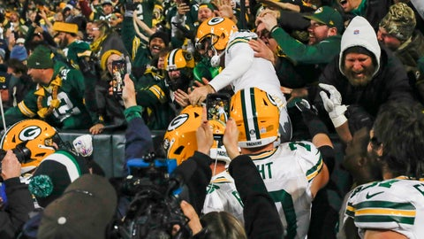 <p>               Green Bay Packers kicker Mason Crosby celebrates kicking the game-winning field goal by jumping in the stands following an NFL football game against the Detroit Lions, Monday, Oct. 14, 2019, in Green Bay, Wis. Green Bay won 23-22. (AP Photo/Jeffrey Phelps)             </p>