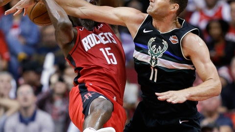 <p>               Milwaukee Bucks center Brook Lopez (11) fouls Houston Rockets center Clint Capela during the second half of an NBA basketball game Thursday, Oct. 24, 2019, in Houston. (AP Photo/Eric Christian Smith)             </p>