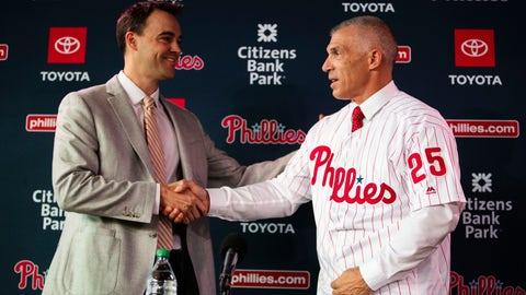<p>               Philadelphia Phillies new manager Joe Girardi, right, shakes hands with Phillies general manager Matt Klentak during a news conference in Philadelphia, Monday, Oct. 28, 2019. The Phillies hired Girardi, the former New York Yankees manager, to replace Gabe Kapler. (AP Photo/Matt Rourke)             </p>