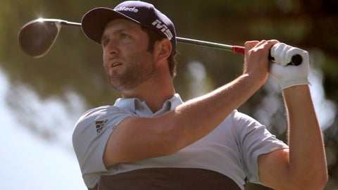 <p>               In this Friday, Oct. 4, 2019 photo Spain's Jon Rahm competes during the second round of the Spanish Open golf tournament in Madrid, Spain. Jon Rahm shot an 8-under 63 on Saturday to match the course record and take a commanding five-shot lead entering the final round of the Spanish Open. (AP Photo/Tales Azzoni)             </p>