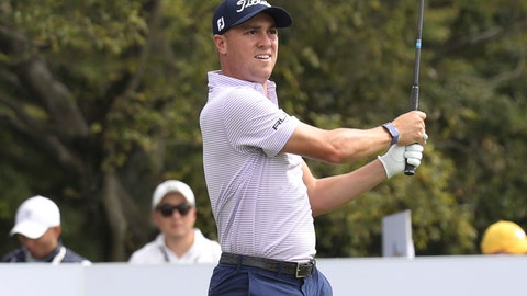 <p>               Justin Thomas of the United States watches his shot on the 6th hole during the first round of the CJ Cup PGA golf tournament at Nine Bridges on Jeju Island, South Korea, Thursday, Oct. 17, 2019.(Park Ji-ho/Yonhap via AP)             </p>