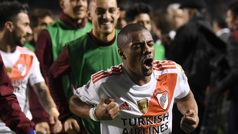 <p>               Nicolas De La Cruz of River Plate celebrates as he leaves the field after a Copa Libertadores semifinal second leg soccer match against Boca Juniors at La Bombonera stadium in Buenos Aires, Argentina, Tuesday, Oct. 22, 2019. River won 2-1 on aggregate and qualified to the final. (AP Photo/Gustavo Garello)             </p>