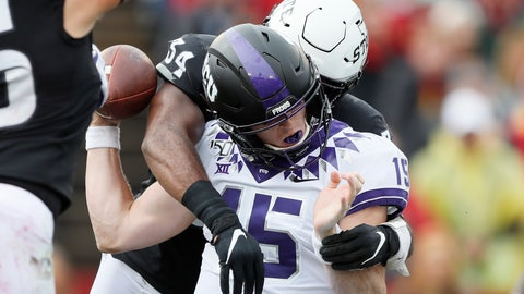 <p>               TCU quarterback Max Duggan fumbles as he is hit by Iowa State linebacker O'Rien Vance (34) during the first half of an NCAA college football game, Saturday, Oct. 5, 2019, in Ames, Iowa. (AP Photo/Charlie Neibergall)             </p>
