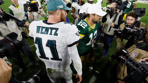 <p>               Philadelphia Eagles quarterback Carson Wentz (11) and Green Bay Packers quarterback Aaron Rodgers (12) greet each other on the field following an NFL football game Thursday, Sept. 26, 2019, in Green Bay, Wis. Philadelphia won 34-27. (AP Photo/Mike Roemer)             </p>