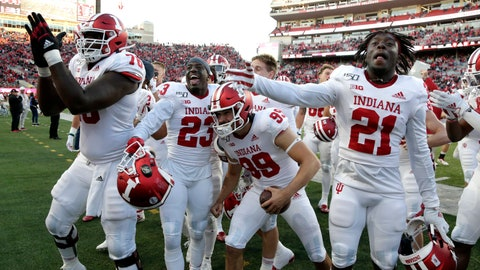 <p>               Indiana players celebrate with supporters after their 38-31 win over Nebraska in an NCAA college football game in Lincoln, Neb., Saturday, Oct. 26, 2019. (AP Photo/Nati Harnik)             </p>