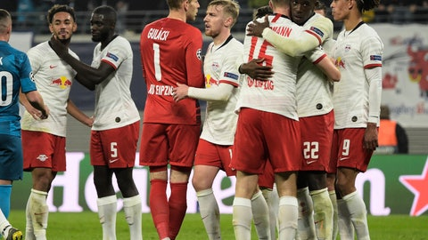 <p>               Leipzig's players celebrate after winning the Champions League group G soccer match between RB Leipzig and Zenit St. Petersburg in Leipzig, Germany, Wednesday, Oct. 23, 2019. (AP Photo/Jens Meyer)             </p>