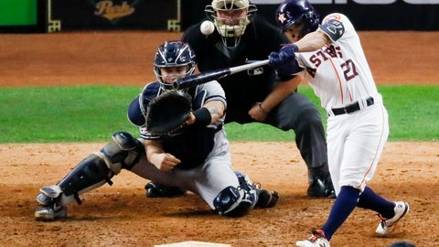 <p>               Houston Astros' Jose Altuve hits a two-run walk-off to win Game 6 of baseball's American League Championship Series against the New York Yankees Saturday, Oct. 19, 2019, in Houston. The Astros won 6-4 to win the series 4-2. (AP Photo/Sue Ogrocki)             </p>