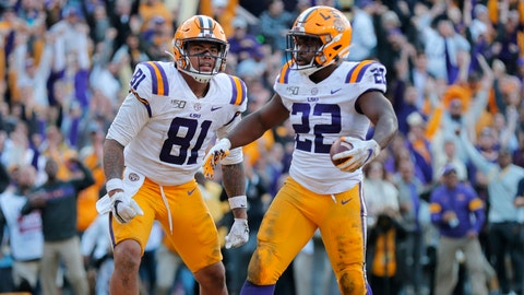 <p>               LSU running back Clyde Edwards-Helaire (22) celebrates his touchdown with tight end Thaddeus Moss (81) in the second half of an NCAA college football game against Auburn in Baton Rouge, La., Saturday, Oct. 26, 2019. LSU won 23-20. (AP Photo/Gerald Herbert)             </p>