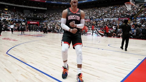 <p>               Houston Rockets' Russell Westbrook screams before the start of the team's NBA preseason basketball game against the Toronto Raptors Thursday, Oct. 10, 2019, in Saitama, near Tokyo. (AP Photo/Jae C. Hong)             </p>