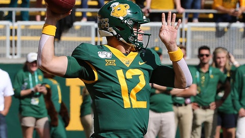 <p>               Baylor quarterback Charlie Brewer (12) drops back to pass against Texas Tech during the first half of a NCAA college football game in Waco, Tex.,Saturday, Oct. 12, 2019.(AP Photo/Jerry Larson)             </p>