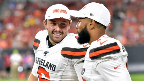 <p>               FILE - In this Aug. 8, 2019, file photo, Cleveland Browns' Baker Mayfield, left, smiles as he talks with wide receiver Odell Beckham Jr. during the second half of an NFL preseason football game against the Washington Redskins in Cleveland. Beckham believes the Browns offense will come around. Until then, he's going to defend Mayfield. (AP Photo/David Richard, File)             </p>