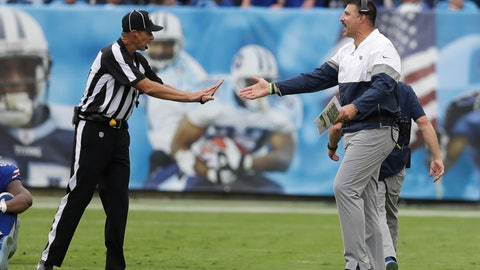 <p>               Tennessee Titans head coach Mike Vrabel argues with down judge Kent Payne in the second half of an NFL football game against the Buffalo Bills Sunday, Oct. 6, 2019, in Nashville, Tenn. (AP Photo/James Kenney)             </p>