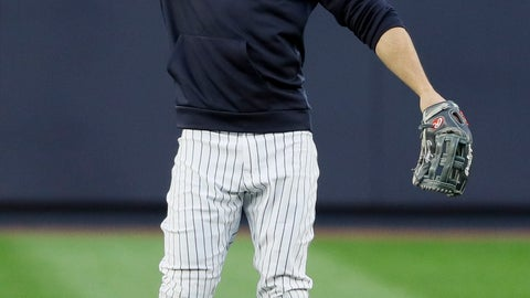 <p>               New York Yankees left fielder Giancarlo Stanton warms up during batting practice before Game 4 of baseball's American League Championship Series against the Houston Astros Thursday, Oct. 17, 2019, in New York. (AP Photo/Matt Slocum)             </p>