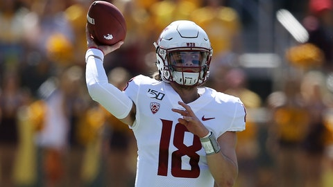 <p>               Washington State quarterback Anthony Gordon throws a pass against Arizona State during the first half of an NCAA college football game Saturday, Oct. 12, 2019, in Tempe, Ariz. (AP Photo/Ross D. Franklin)             </p>