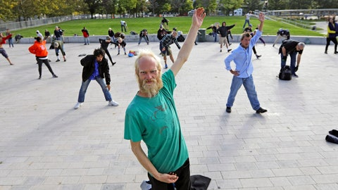 <p>               In this Oct. 2, 2019, photo, Whitey Christian performs tai chi at the Salt Lake Main Library, in Salt Lake City. The participants are homeless people who take part in a free tai chi program run by a retired couple who started the classes three years earlier. Now, more than 50 people regularly attend. (AP Photo/Rick Bowmer)             </p>