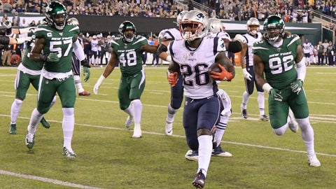 <p>               New England Patriots running back Sony Michel (26)  gets away from New York Jets' C.J. Mosley (57) and Leonard Williams (92) for a touchdown during the first half of an NFL football game Monday, Oct. 21, 2019, in East Rutherford, N.J. (AP Photo/Bill Kostroun)             </p>