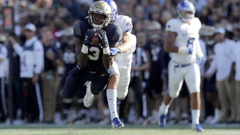 <p>               Navy wide receiver Mychal Cooper, front, makes a catch as Air Force defensive back Milton Bugg III defends during the first half of an NCAA college football game Saturday, Oct. 5, 2019, in Annapolis, Md. (AP Photo/Julio Cortez)             </p>