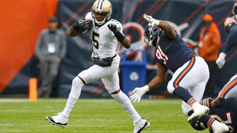 <p>               New Orleans Saints quarterback Teddy Bridgewater (5) is chased by Chicago Bears nose tackle Eddie Goldman (91) during the first half of an NFL football game in Chicago, Sunday, Oct. 20, 2019. (AP Photo/Charles Rex Arbogast)             </p>