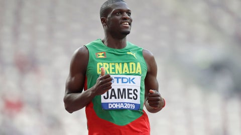 <p>               Kirani James, of Grenada gestures after finishing a men's 400 meter heat at the World Athletics Championships in Doha, Qatar, Tuesday, Oct. 1, 2019. (AP Photo/Petr David Josek)             </p>