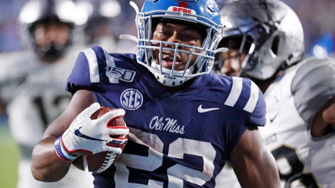 <p>               Mississippi running back Scottie Phillips (22) hears into the end zone on a 24-yard touchdown run during the second half of an NCAA college football game against Vanderbilt in Oxford, Miss., Saturday, Oct. 5, 2019. Mississippi won 31-6. (AP Photo/Rogelio V. Solis)             </p>