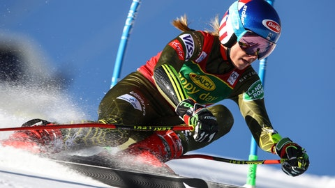 <p>               United States' Mikaela Shiffrin powers past a gate during an alpine ski, women's World Cup giant slalom in Soelden, Austria, Saturday, Oct. 26, 2019. (AP Photo/Marco Trovati)             </p>