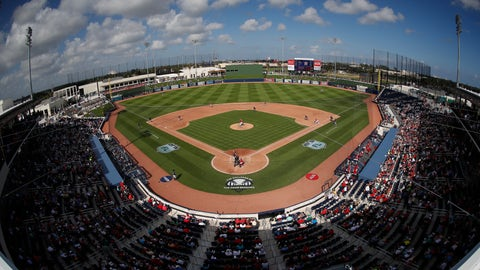 <p>               FILE - In this Feb. 28. 2017, file photo, theWashington Nationals and the Houston Astros play a spring training baseball game at Ballpark of the Palm Beaches in West Palm Beach, Fla. The game was the first to be played in the new stadium, which serves as both clubs' spring training home. The Houston-Washington World Series, which began Tuesday, is the first in the modern era to feature teams that share a common spring training site. In 1942, the Cardinals and Yankees met in the Series after playing their spring games in the same St. Petersburg, Fla., ballpark but training at different sites. (AP Photo/John Bazemore, File)             </p>