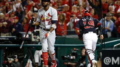 <p>               St. Louis Cardinals' Dexter Fowler reacts after striking out during the seventh inning of Game 3 of the baseball National League Championship Series against the Washington Nationals Monday, Oct. 14, 2019, in Washington. (AP Photo/Patrick Semansky)             </p>