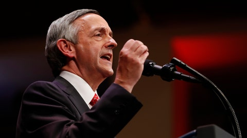 <p>               FILE - In this July 1, 2017, file photo, Pastor Robert Jeffress of the First Baptist Dallas Church Choir speaks as he introduces President Donald Trump during the Celebrate Freedom event at the Kennedy Center for the Performing Arts in Washington. The Megachurch pastor has been selected by Talladega Superspeedway to give Sunday's pre-race invocation and wave the green flag.   (AP Photo/Carolyn Kaster, File)             </p>