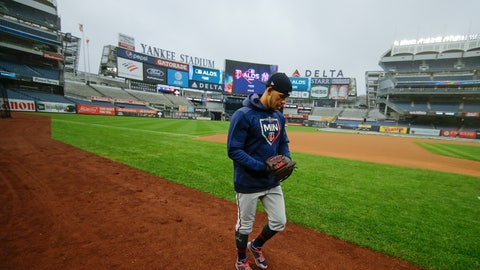 <p>               Minnesota Twins starting pitcher Jose Berrios walks the field Thursday, Oct. 3, 2019, at Yankee Stadium in New York. The New York Yankees will host the Twins in the first game of an American League Division Series on Friday. (AP Photo/Frank Franklin II)             </p>