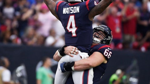 <p>               Houston Texans quarterback Deshaun Watson (4) is lifted by teammate Nick Martin (66) as they celebrate a touchdown against the Atlanta Falcons during the first half of an NFL football game Sunday, Oct. 6, 2019, in Houston. (AP Photo/Eric Christian Smith)             </p>