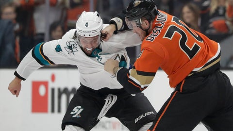 <p>               Anaheim Ducks left wing Nicolas Deslauriers, right, hits San Jose Sharks defenseman Brenden Dillon during the first period of an NHL hockey game in Anaheim, Calif., Saturday, Oct. 5, 2019. (AP Photo/Chris Carlson)             </p>