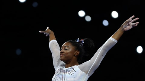 <p>               Simone Biles of the United States performs on the vault in the women's all-around final at the Gymnastics World Championships in Stuttgart, Germany, Thursday, Oct. 10, 2019. (AP Photo/Matthias Schrader)             </p>