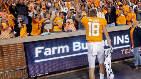<p>               Tennessee quarterback Brian Maurer (18) celebrates with fans after their 41-21 win over South Carolina in an NCAA college football game Saturday, Oct. 26, 2019, in Knoxville, Tenn. (AP Photo/Wade Payne)             </p>