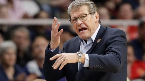 <p>               FILE - In this March 31, 2019, file photo, Connecticut coach Geno Auriemma gestures during the second half of a regional championship final against Louisville in the NCAA women's college basketball tournament, in Albany, N.Y.  Auriemma and UConn will be going for one last undefeated season in their American Athletic Conference farewell. The Huskies haven't lost a league game since the AAC started in 2013. Not everyone is sad to see them go. (AP Photo/Kathy Willens, File)             </p>