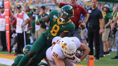 <p>               Iowa State tight end Charlie Kolar, right, scores past Baylor safety Henry Black, left in the second half of an NCAA college football game, Saturday, Sept. 28, 2019, in Waco, Texas. (Rod Aydelotte/Waco Tribune-Herald via AP)             </p>