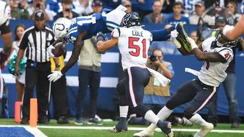<p>               Indianapolis Colts wide receiver Zach Pascal (14) dives in for a touchdown during the first half of an NFL football game against the Houston Texans, Sunday, Oct. 20, 2019, in Indianapolis. (AP Photo/Doug McSchooler)             </p>
