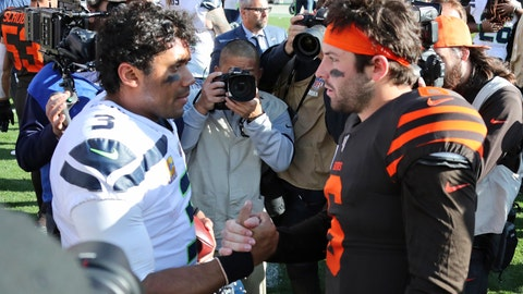 <p>               Seattle Seahawks quarterback Russell Wilson (3) and Cleveland Browns quarterback Baker Mayfield (6) talk after an NFL football game, Sunday, Oct. 13, 2019, in Cleveland. (AP Photo/Ron Schwane)             </p>